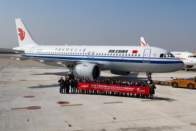 客车总装第8000架A320系列飞机在津交付