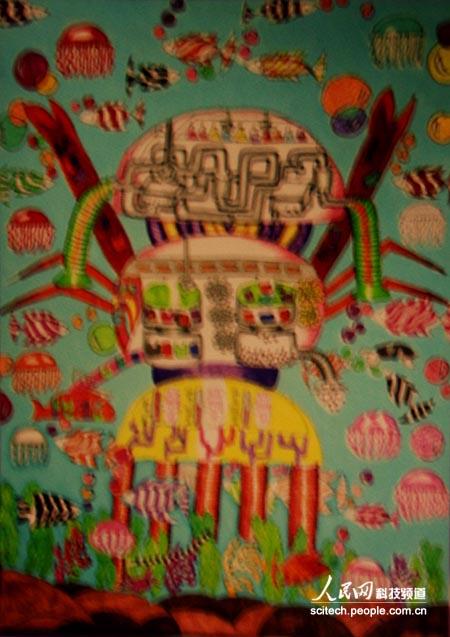 馆展出,孩子们用一幅幅五彩斑斓的图画畅想着未来的世界.