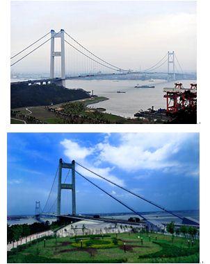 """江阴长江大桥是国家""""两纵两横""""公路主骨架中同江至"""